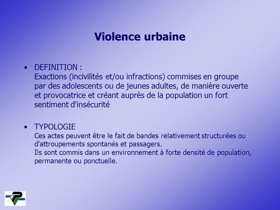 Violence urbaine DEFINITION : Exactions (incivilités et/ou infractions) commises en groupe par des adolescents ou de jeunes adultes, de manière ouvert