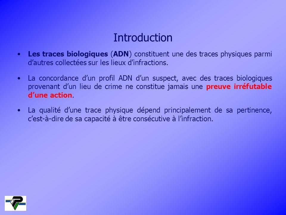 Introduction Les traces biologiques (ADN) constituent une des traces physiques parmi dautres collectées sur les lieux dinfractions. La concordance dun