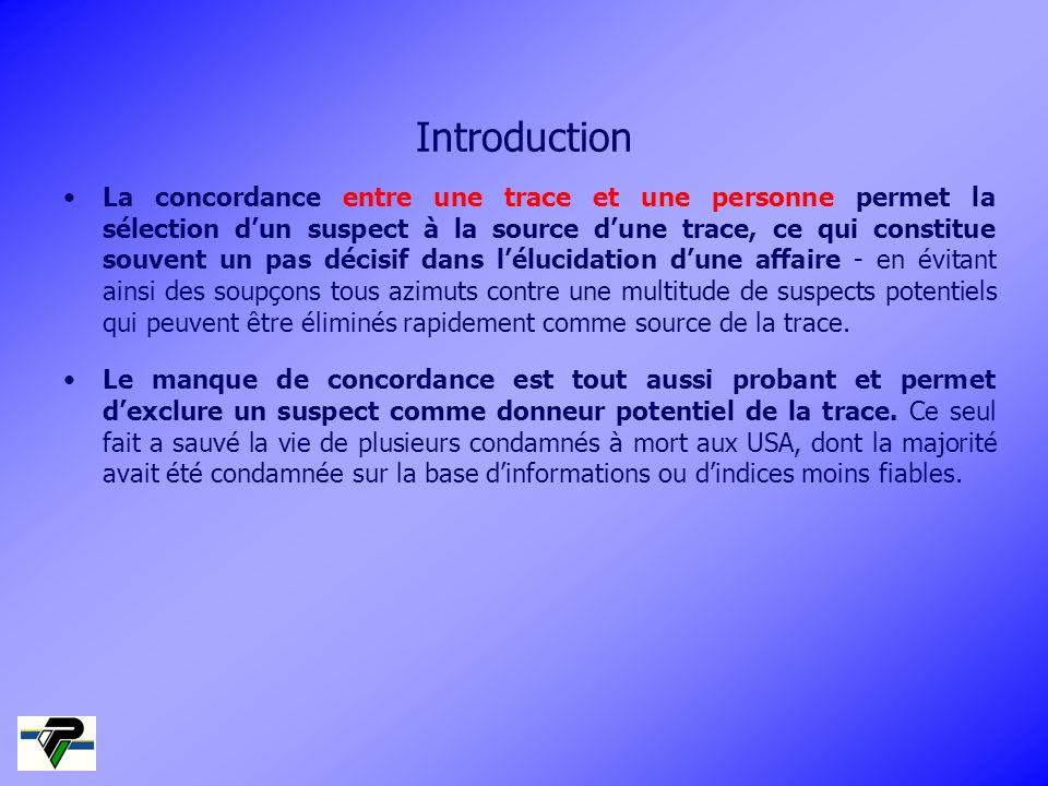 Introduction La concordance entre une trace et une personne permet la sélection dun suspect à la source dune trace, ce qui constitue souvent un pas dé