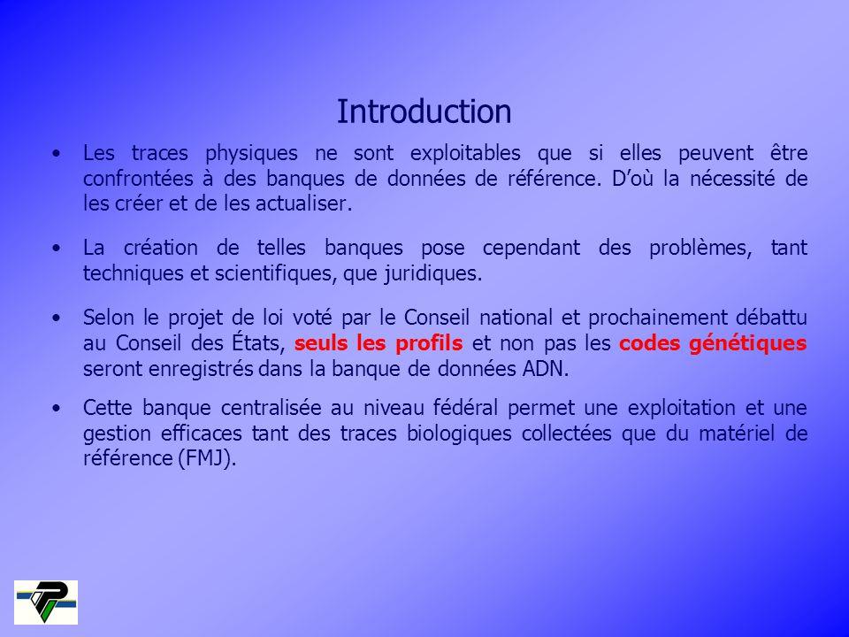 Introduction Les traces physiques ne sont exploitables que si elles peuvent être confrontées à des banques de données de référence. Doù la nécessité d