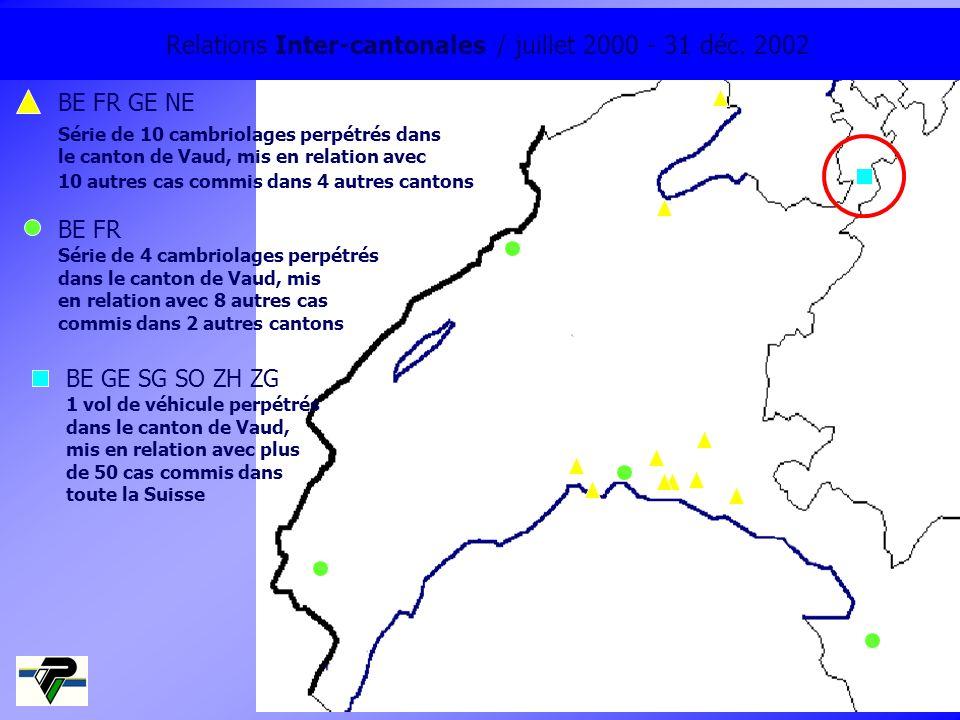 Relations Inter-cantonales / juillet 2000 - 31 déc. 2002 BE FR GE NE Série de 10 cambriolages perpétrés dans le canton de Vaud, mis en relation avec 1