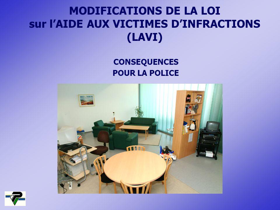 MODIFICATIONS DE LA LOI sur lAIDE AUX VICTIMES DINFRACTIONS (LAVI) CONSEQUENCES POUR LA POLICE