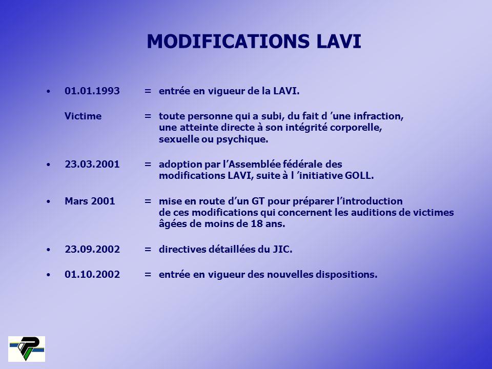 MODIFICATIONS LAVI 01.01.1993=entrée en vigueur de la LAVI. Victime=toute personne qui a subi, du fait d une infraction, une atteinte directe à son in