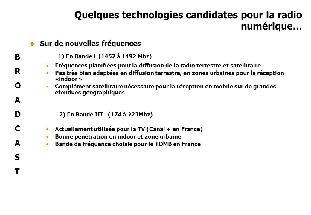 Jean-Marc de Félice 23/11/2007 Quelques technologies candidates pour la radio numérique… Sur de nouvelles fréquences 1) En Bande L (1452 à 1492 Mhz) F