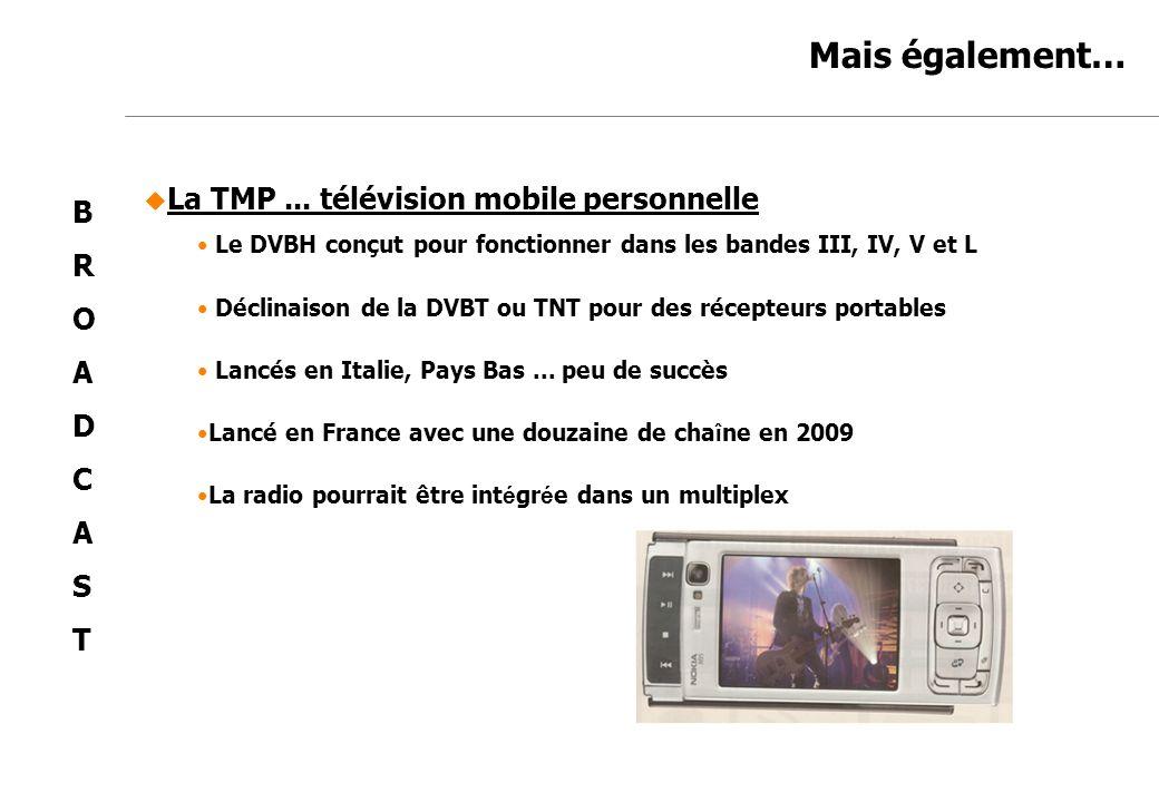 Jean-Marc de Félice 23/11/2007 Mais également… La TMP... télévision mobile personnelle Le DVBH conçut pour fonctionner dans les bandes III, IV, V et L