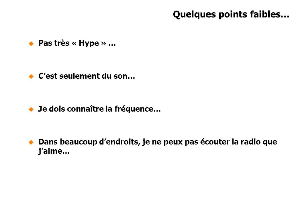 Jean-Marc de Félice 23/11/2007 Quelques points faibles… Pas très « Hype » … Cest seulement du son… Je dois connaître la fréquence… Dans beaucoup dendr
