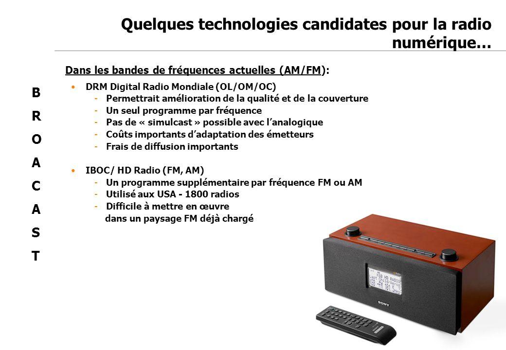 Jean-Marc de Félice 23/11/2007 Quelques technologies candidates pour la radio numérique… Dans les bandes de fréquences actuelles (AM/FM): DRM Digital
