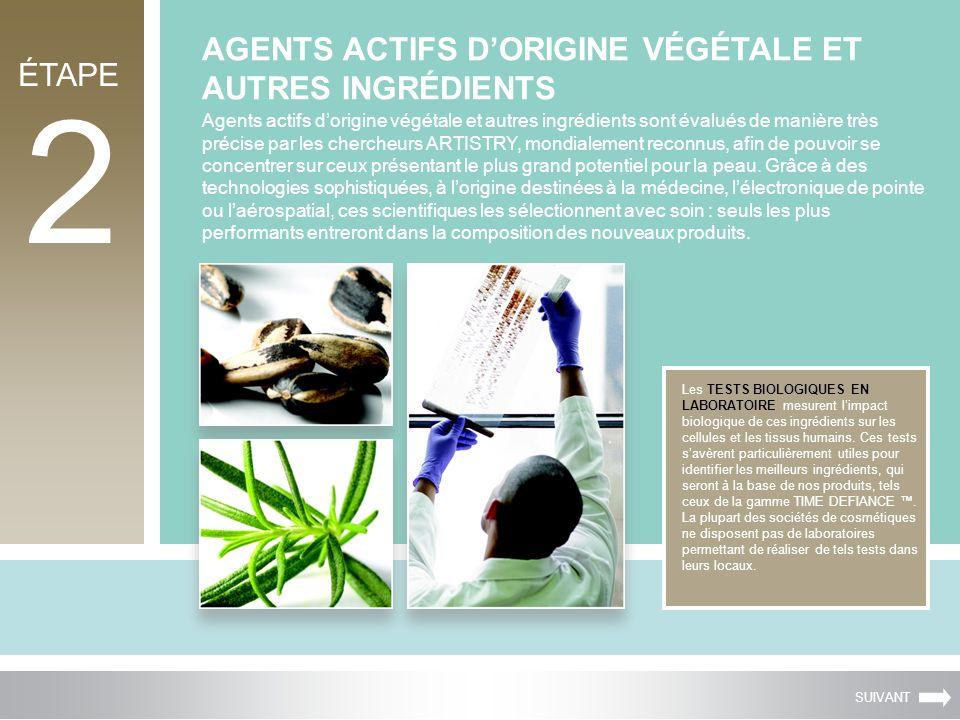 2 AGENTS ACTIFS DORIGINE VÉGÉTALE ET AUTRES INGRÉDIENTS Les TESTS BIOLOGIQUES EN LABORATOIRE mesurent limpact biologique de ces ingrédients sur les ce