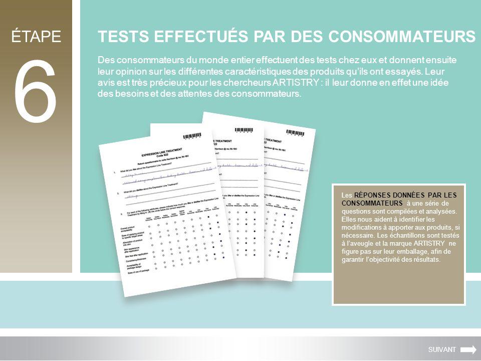 ÉTAPE 6 TESTS EFFECTUÉS PAR DES CONSOMMATEURS Les RÉPONSES DONNÉES PAR LES CONSOMMATEURS à une série de questions sont compilées et analysées. Elles n