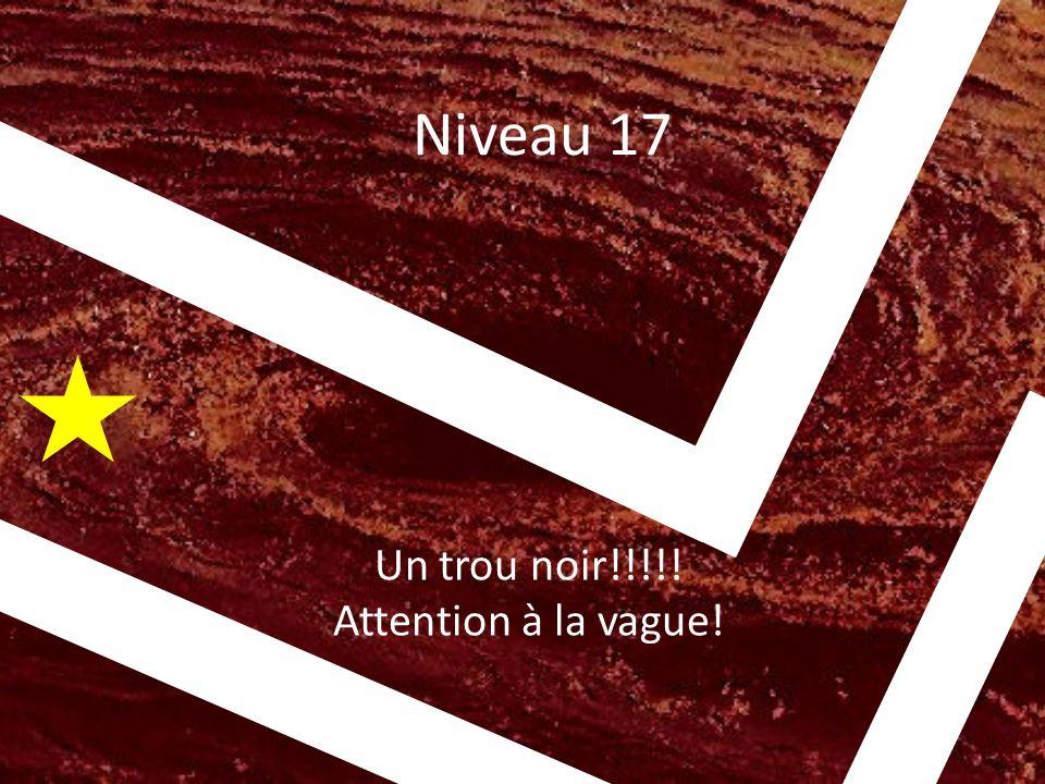 Niveau 17 Un trou noir!!!!! Attention à la vague! v v v v v