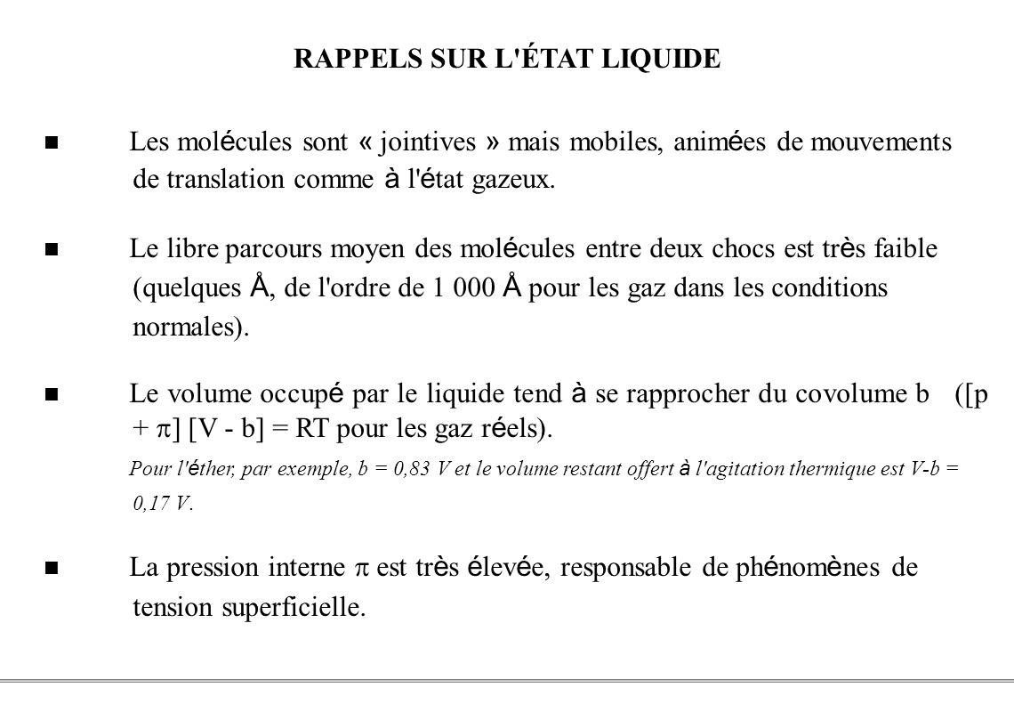 PCEM1 – Biophysique- 2 - RAPPELS SUR L'ÉTAT LIQUIDE Les mol é cules sont « jointives » mais mobiles, anim é es de mouvements de translation comme à l'
