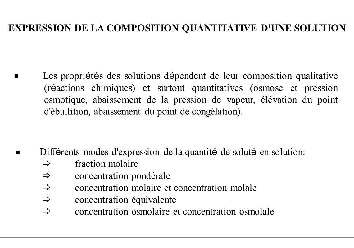 PCEM1 – Biophysique- 25 - EXPRESSION DE LA COMPOSITION QUANTITATIVE D'UNE SOLUTION Les propri é t é s des solutions d é pendent de leur composition qu