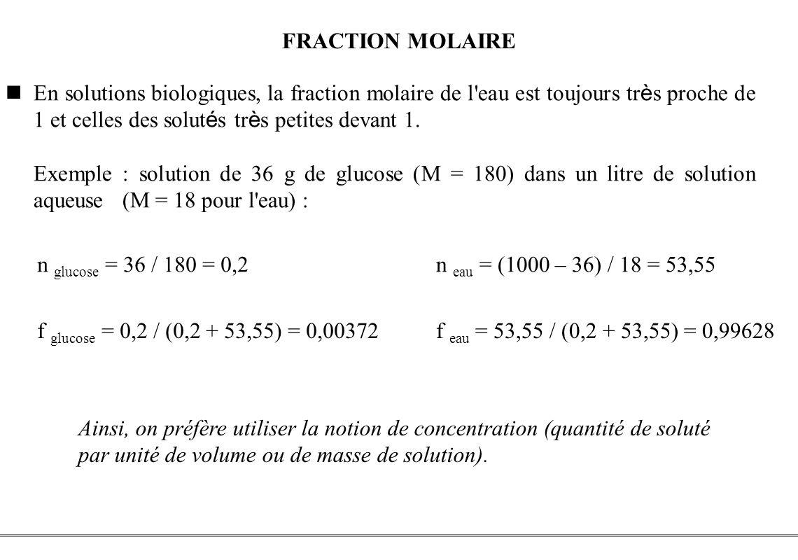 PCEM1 – Biophysique- 27 - FRACTION MOLAIRE En solutions biologiques, la fraction molaire de l'eau est toujours tr è s proche de 1 et celles des solut