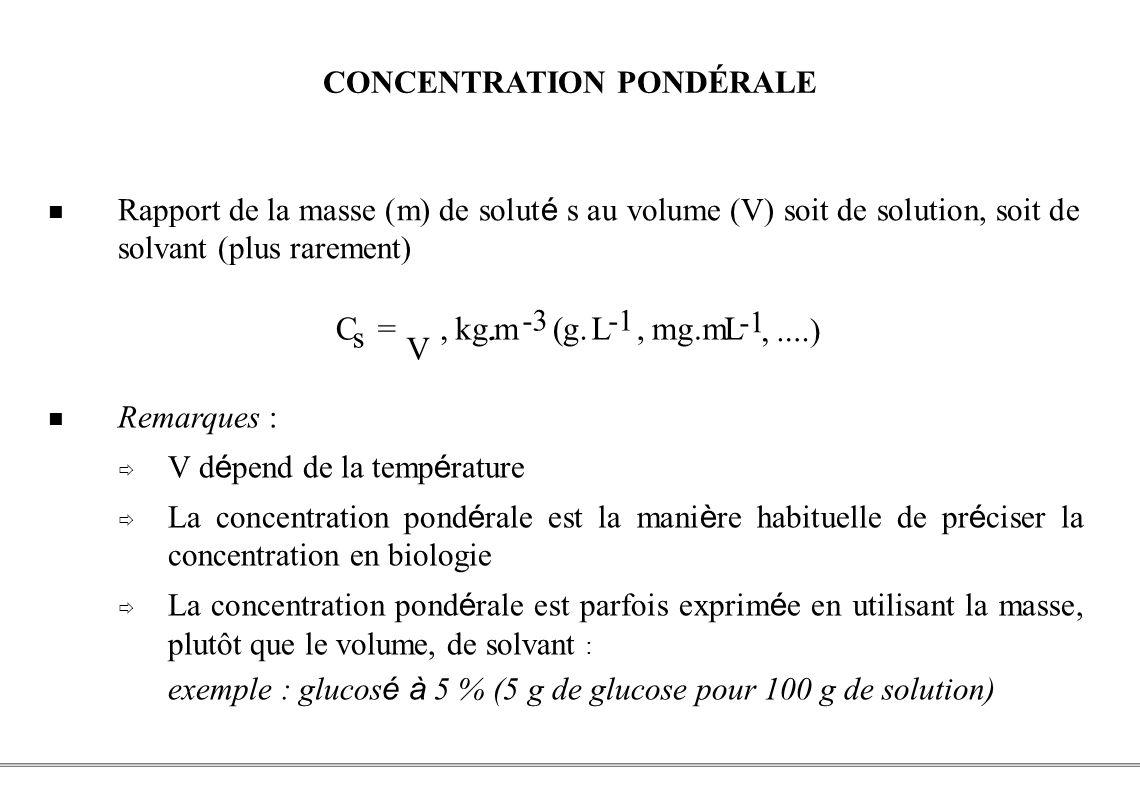 PCEM1 – Biophysique- 28 - CONCENTRATION PONDÉRALE Remarques : V d é pend de la temp é rature La concentration pond é rale est la mani è re habituelle