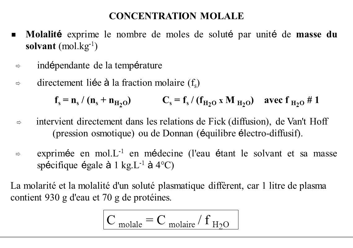PCEM1 – Biophysique- 30 - CONCENTRATION MOLALE intervient directement dans les relations de Fick (diffusion), de Van't Hoff (pression osmotique) ou de
