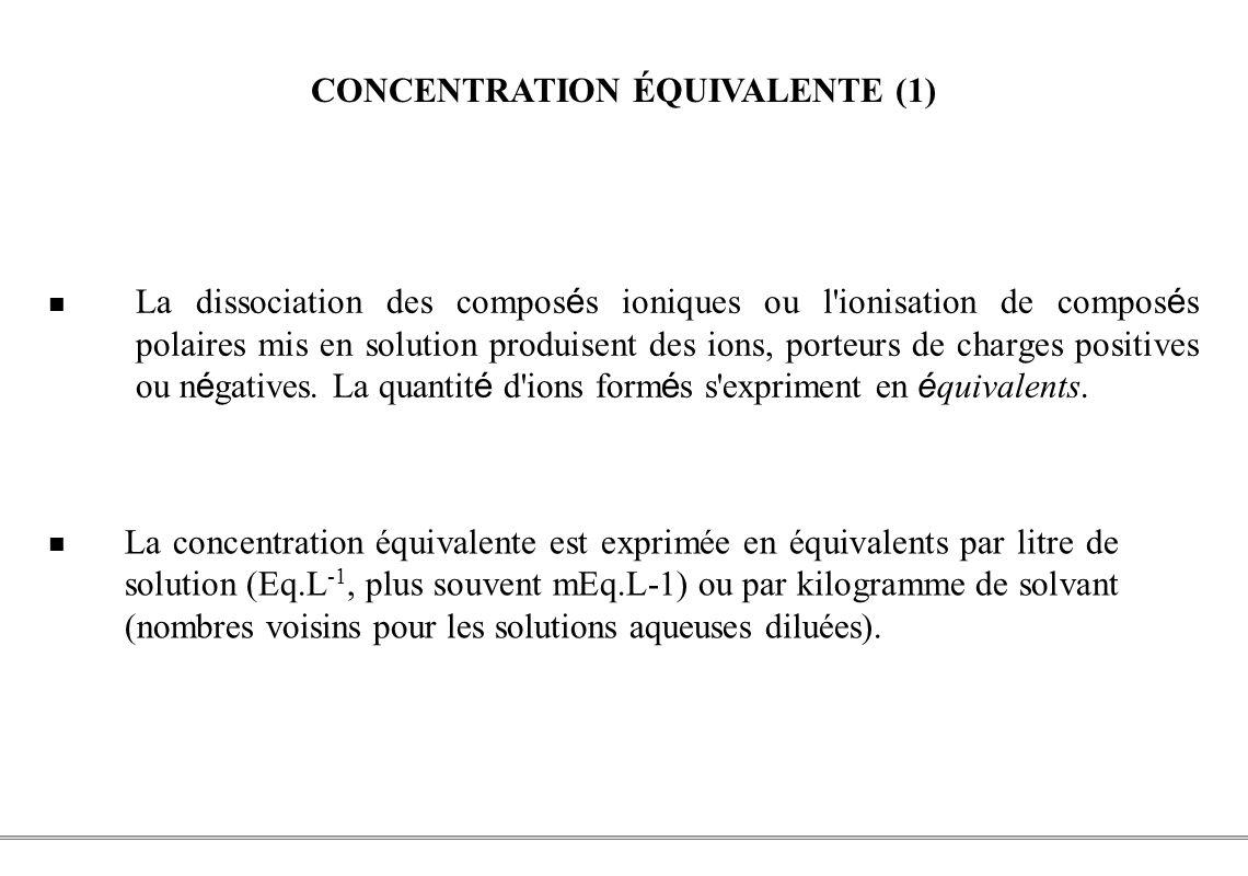 PCEM1 – Biophysique- 31 - CONCENTRATION ÉQUIVALENTE (1) La dissociation des compos é s ioniques ou l'ionisation de compos é s polaires mis en solution