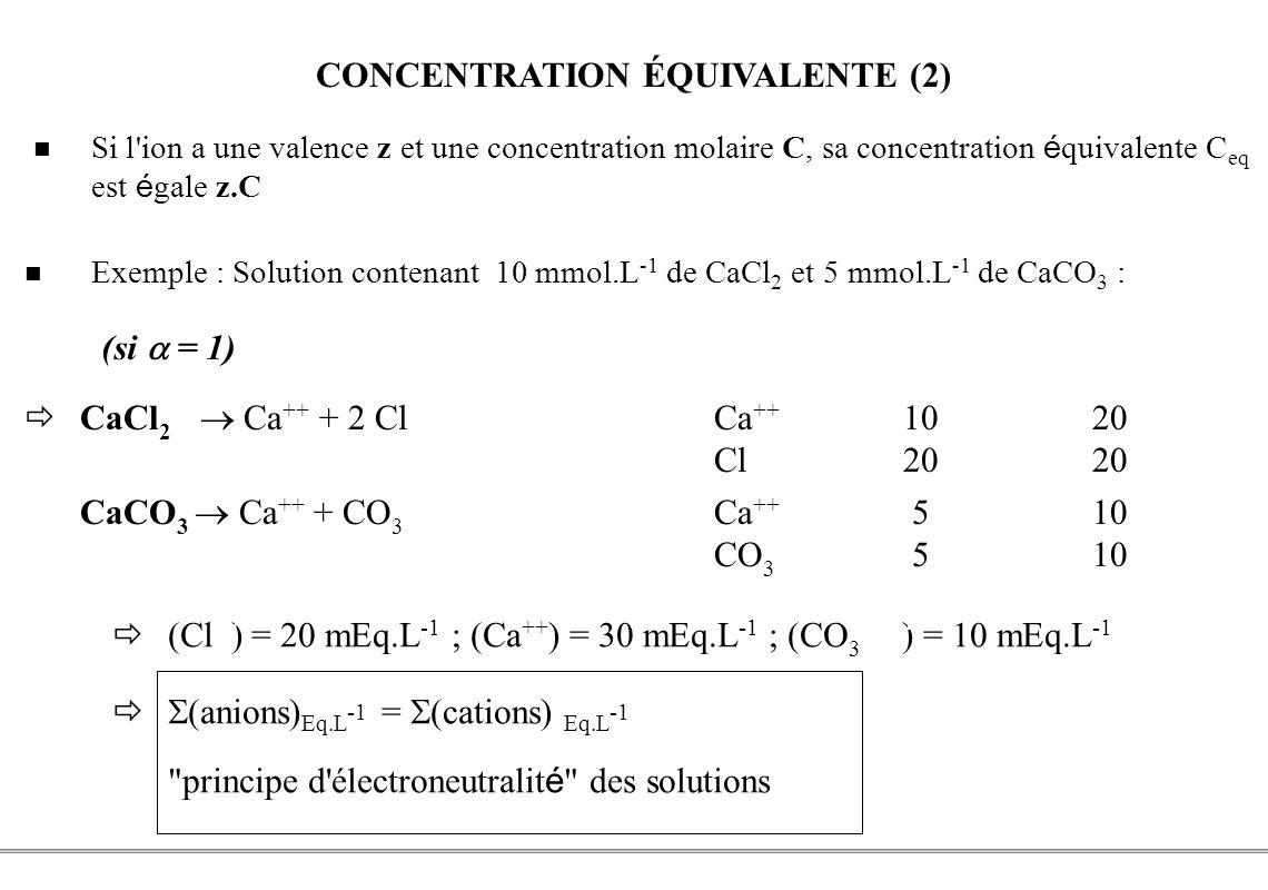PCEM1 – Biophysique- 32 - CONCENTRATION ÉQUIVALENTE (2) Si l'ion a une valence z et une concentration molaire C, sa concentration é quivalente C eq es