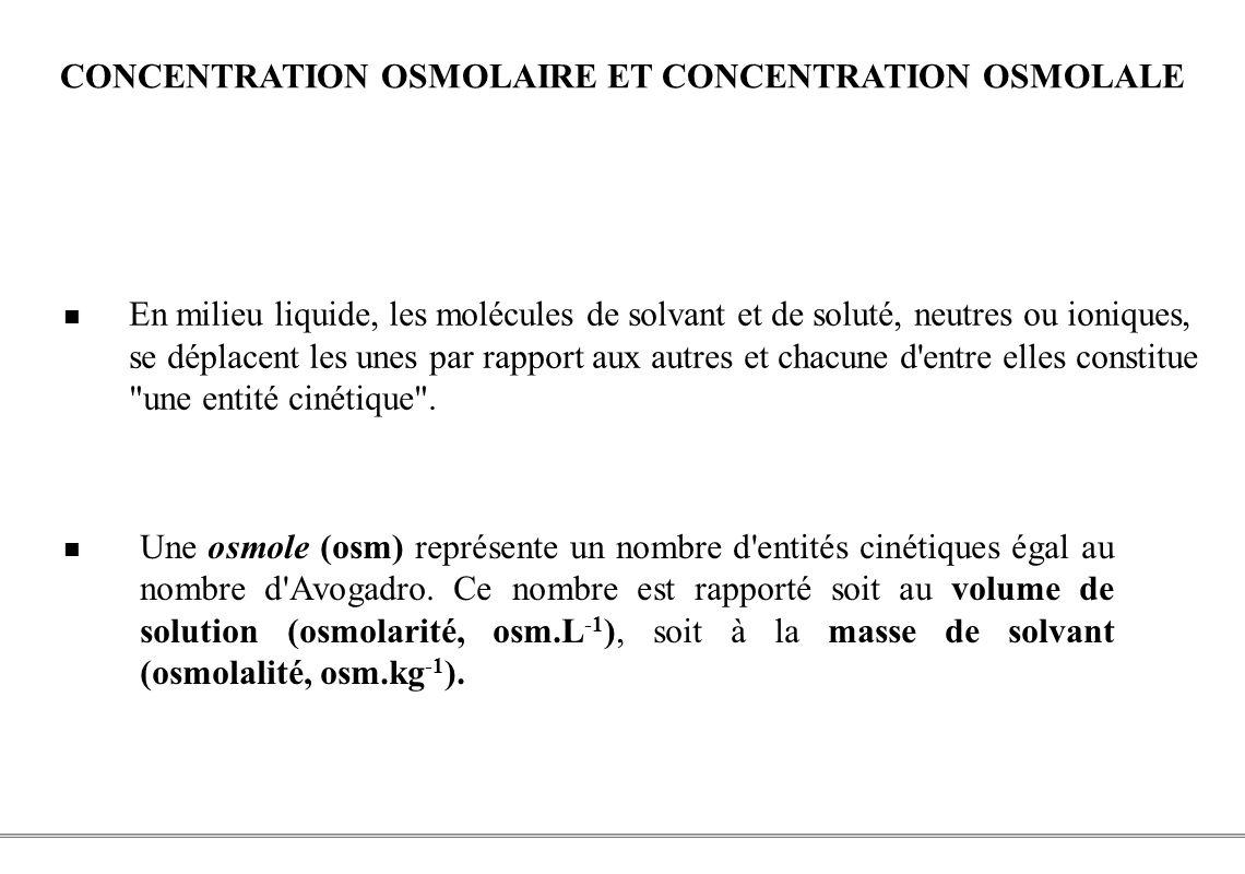 PCEM1 – Biophysique- 33 - CONCENTRATION OSMOLAIRE ET CONCENTRATION OSMOLALE En milieu liquide, les molécules de solvant et de soluté, neutres ou ioniq