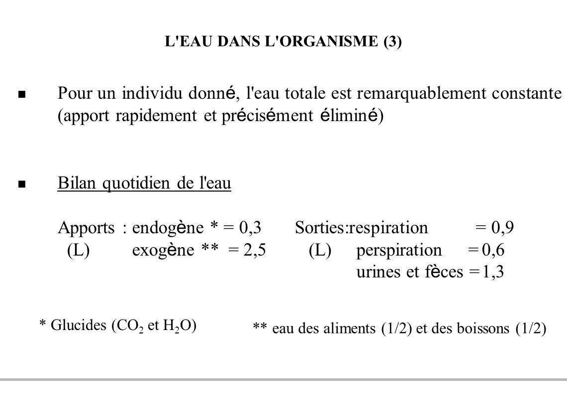 PCEM1 – Biophysique- 5 - L'EAU DANS L'ORGANISME (3) Pour un individu donn é, l'eau totale est remarquablement constante (apport rapidement et pr é cis