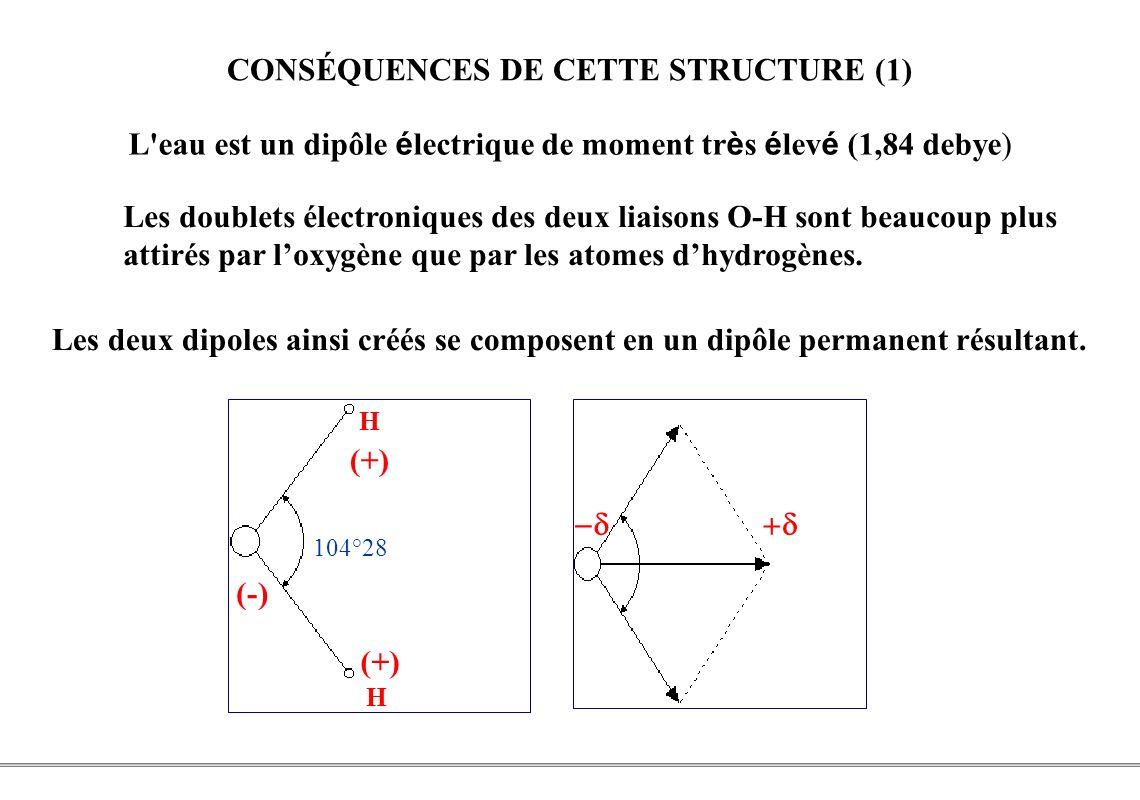 PCEM1 – Biophysique- 7 - CONSÉQUENCES DE CETTE STRUCTURE (1) L'eau est un dipôle é lectrique de moment tr è s é lev é (1,84 debye) H H (+) (-) 104°28