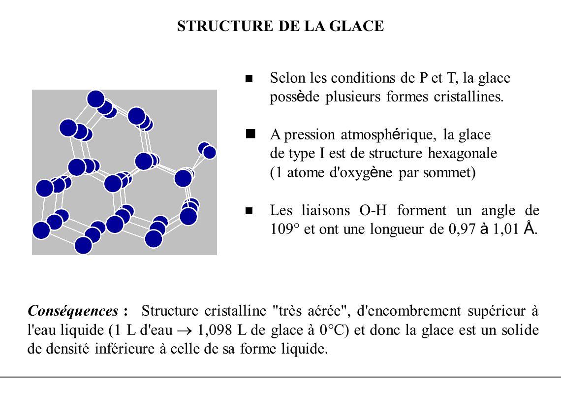 PCEM1 – Biophysique- 9 - STRUCTURE DE LA GLACE Selon les conditions de P et T, la glace poss è de plusieurs formes cristallines. A pression atmosph é