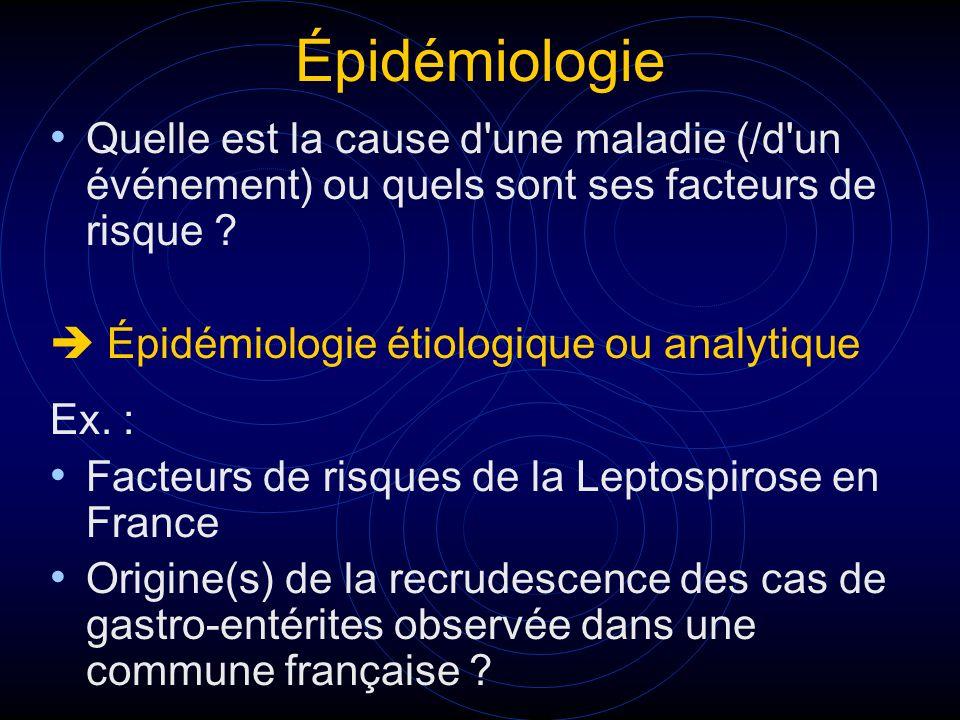 Épidémiologie Quelle est la cause d'une maladie (/d'un événement) ou quels sont ses facteurs de risque ? Épidémiologie étiologique ou analytique Ex. :
