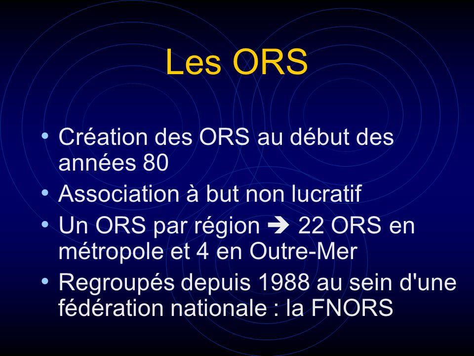 Les ORS Création des ORS au début des années 80 Association à but non lucratif Un ORS par région 22 ORS en métropole et 4 en Outre-Mer Regroupés depui