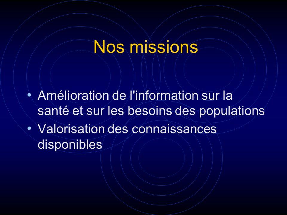 Nos missions Amélioration de l'information sur la santé et sur les besoins des populations Valorisation des connaissances disponibles