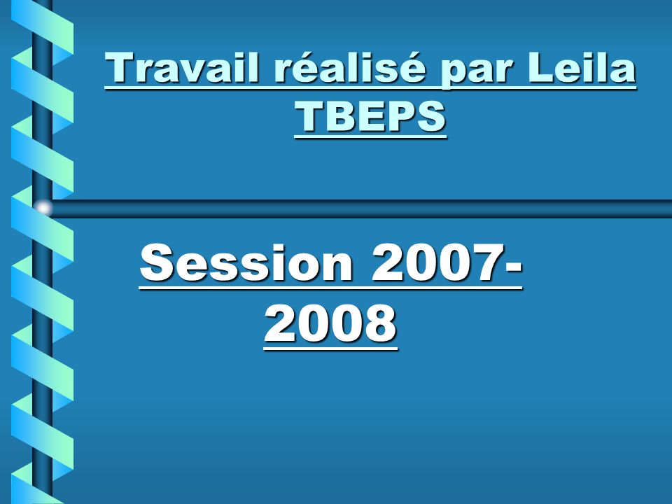 Travail réalisé par Leila TBEPS Session 2007- 2008