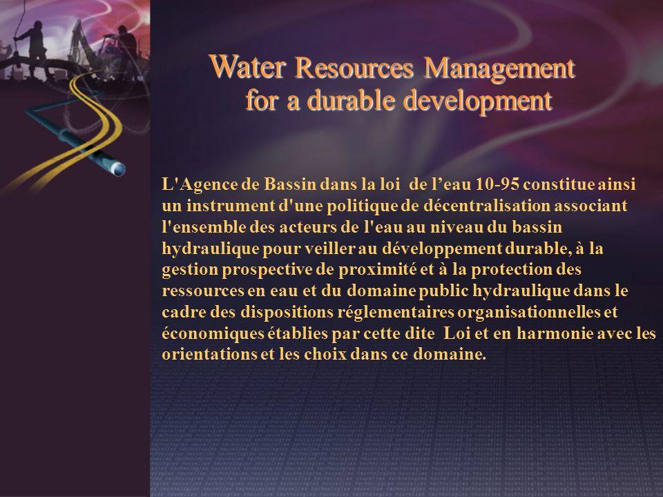 L'Agence de Bassin dans la loi de leau 10-95 constitue ainsi un instrument d'une politique de décentralisation associant l'ensemble des acteurs de l'e