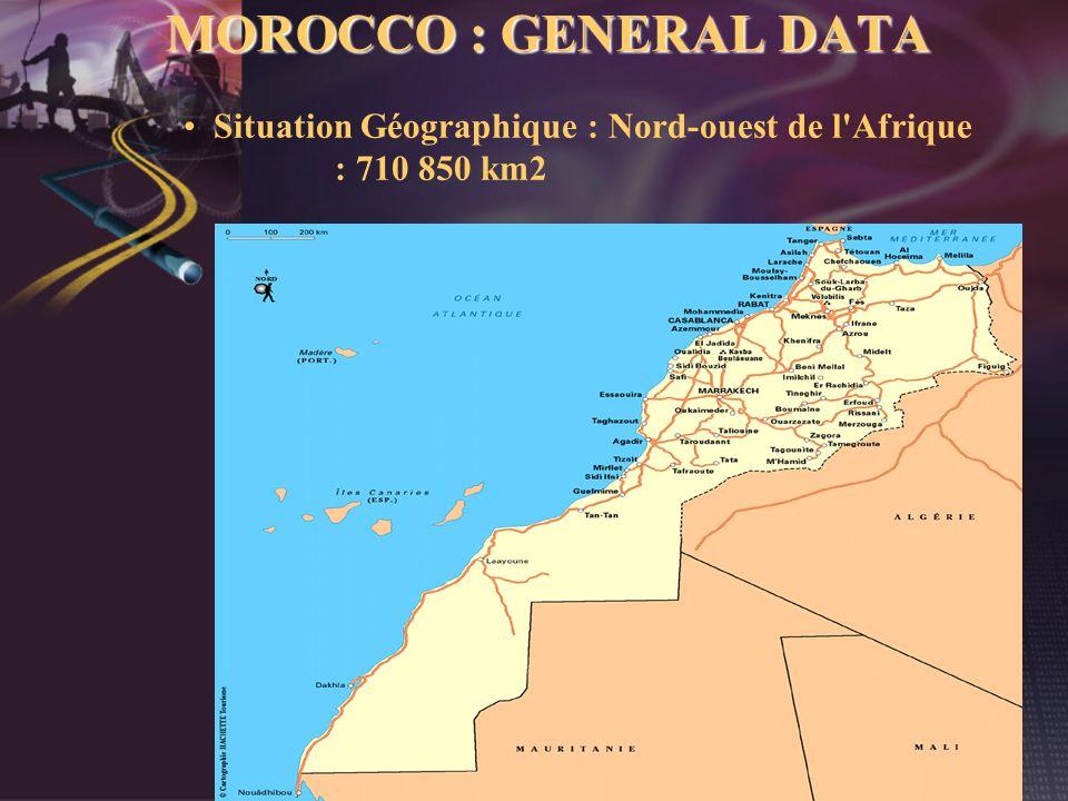 Situation Géographique : Nord-ouest de l'Afrique : 710 850 km2 MOROCCO : GENERAL DATA