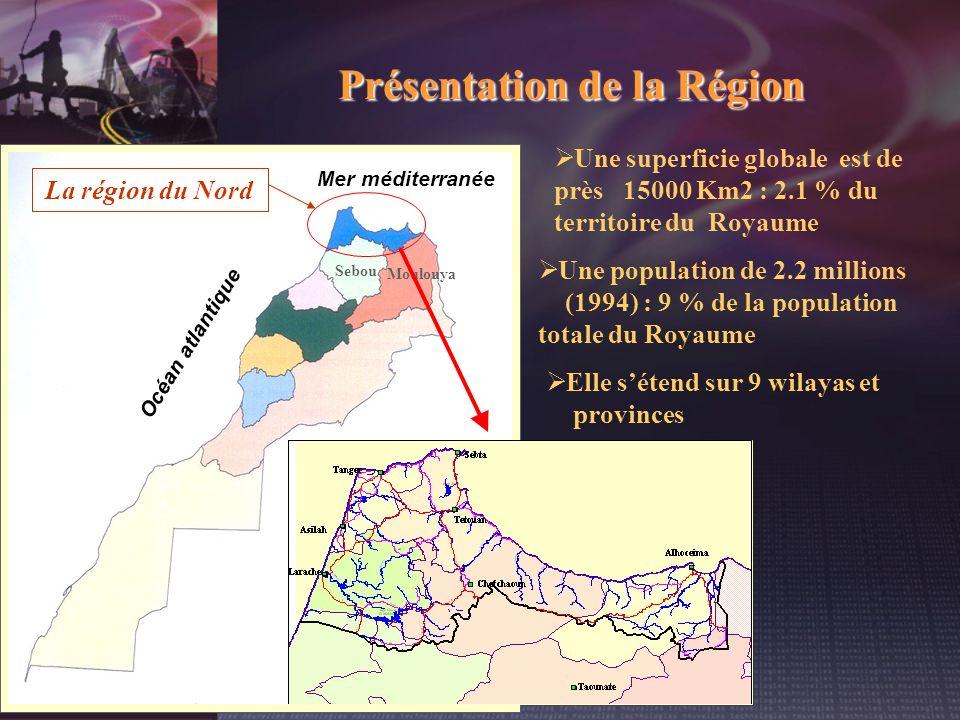 Présentation de la Région Sebou Moulouya La région du Nord Océan atlantique Mer méditerranée Elle sétend sur 9 wilayas et provinces Une superficie glo