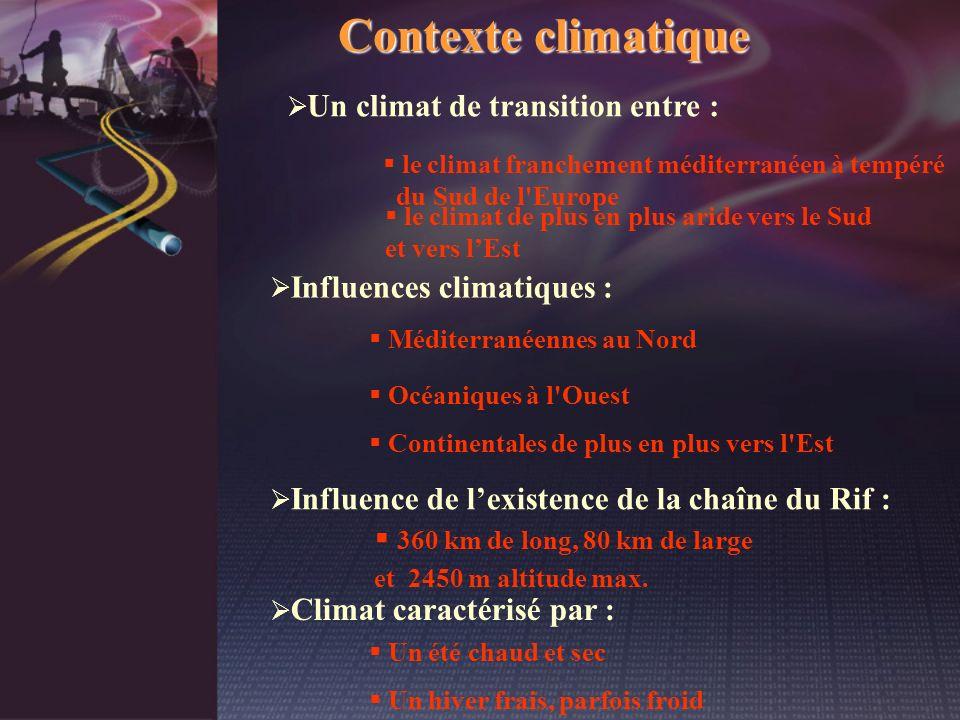 Contexte climatique Un climat de transition entre : le climat franchement méditerranéen à tempéré du Sud de l'Europe le climat de plus en plus aride v