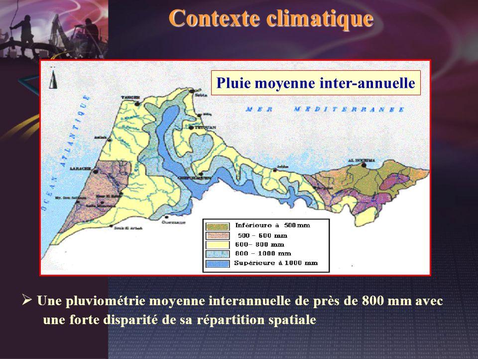 Contexte climatique Une pluviométrie moyenne interannuelle de près de 800 mm avec une forte disparité de sa répartition spatiale Pluie moyenne inter-a