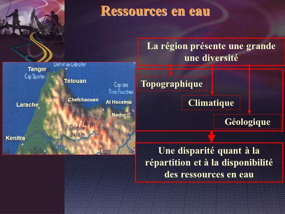 Ressources en eau La région présente une grande une diversité Tétouan Kenitra Tanger Nador Larache Chefchaouen Al Hoceima Une disparité quant à la rép