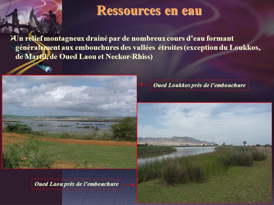 Ressources en eau Un relief montagneux drainé par de nombreux cours deau formant généralement aux embouchures des vallées étroites (exception du Loukk