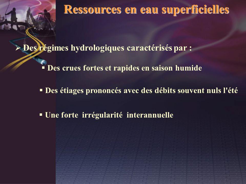 Ressources en eau superficielles Des régimes hydrologiques caractérisés par : Une forte irrégularité interannuelle Des crues fortes et rapides en sais