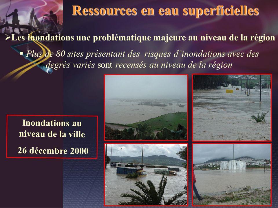 Ressources en eau superficielles Les inondations une problématique majeure au niveau de la région Plus de 80 sites présentant des risques dinondations