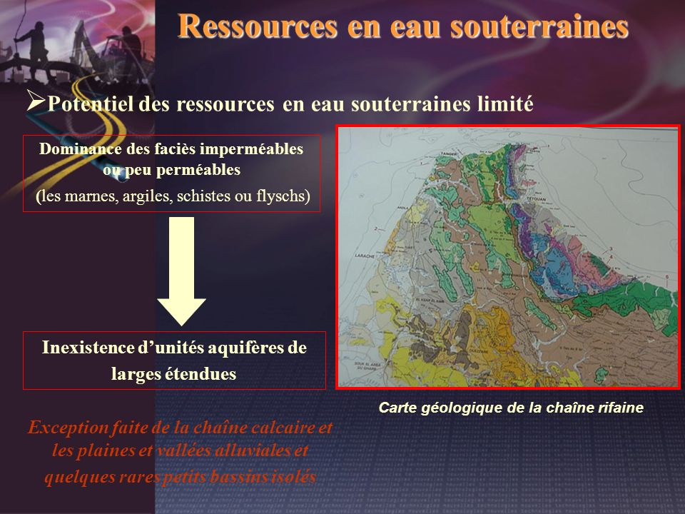 Ressources en eau souterraines Potentiel des ressources en eau souterraines limité Dominance des faciès imperméables ou peu perméables (les marnes, ar