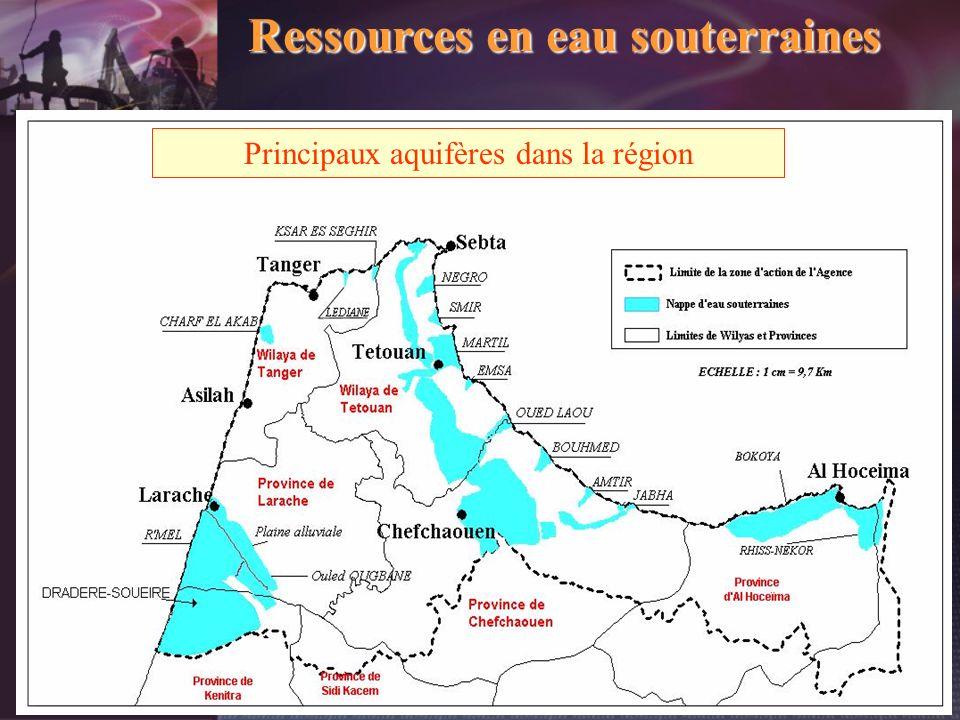 Ressources en eau souterraines Principaux aquifères dans la région