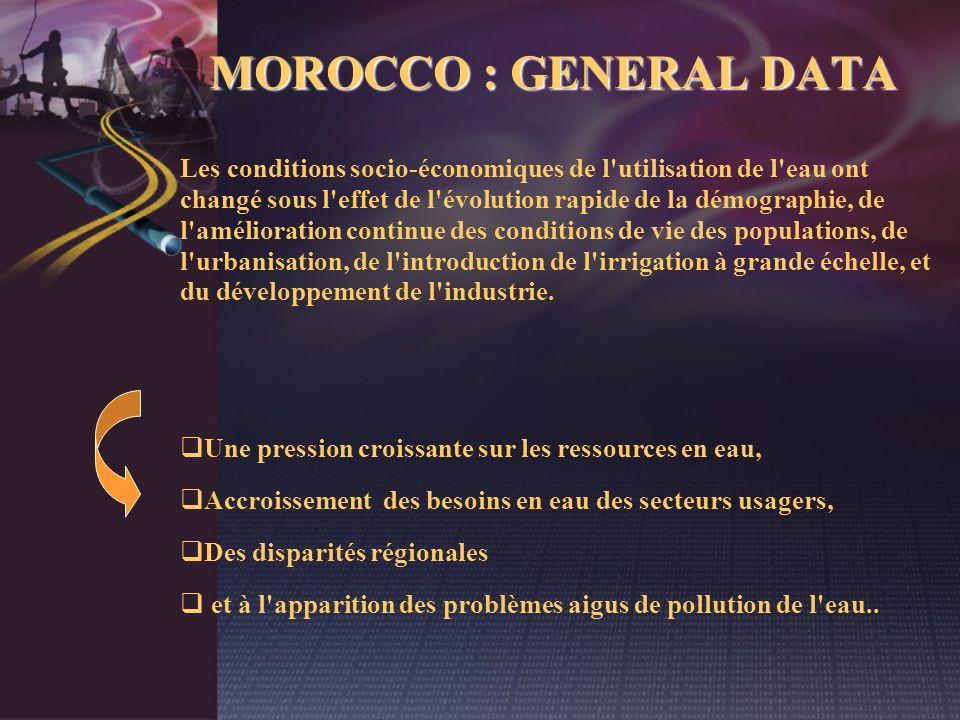 MOROCCO : GENERAL DATA Les conditions socio-économiques de l'utilisation de l'eau ont changé sous l'effet de l'évolution rapide de la démographie, de