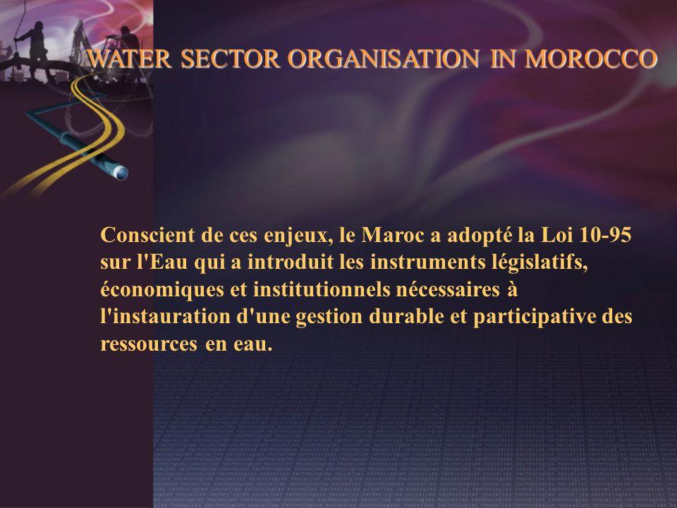 WATER SECTOR ORGANISATION IN MOROCCO Conscient de ces enjeux, le Maroc a adopté la Loi 10-95 sur l'Eau qui a introduit les instruments législatifs, éc
