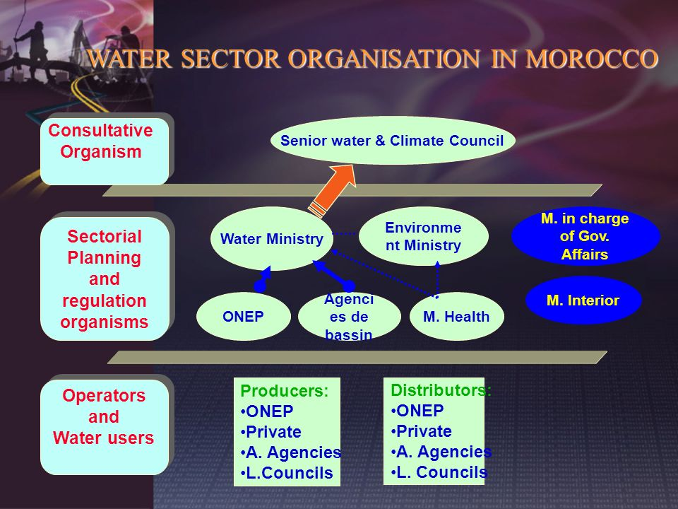 Sectorial Planning and regulation organisms Sectorial Planning and regulation organisms Operators and Water users Operators and Water users Consultati