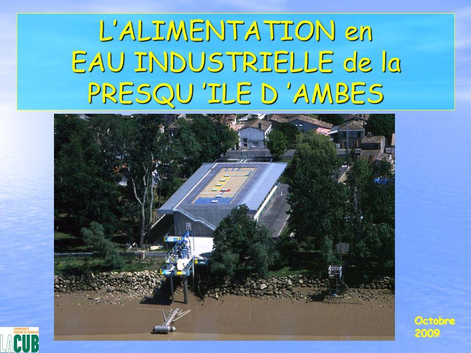 Les objectifs du service d eau industrielle Les objectifs du service d eau industrielle Participer à la limitation des prélèvements d eau dans la nappe de l EocèneParticiper à la limitation des prélèvements d eau dans la nappe de l Eocène Apporter une ressource de substitution aux industriels de la Presquîle prélevant dans la nappe de lEocèneApporter une ressource de substitution aux industriels de la Presquîle prélevant dans la nappe de lEocène Favoriser le développement industriel sur la Presquîle d AmbèsFavoriser le développement industriel sur la Presquîle d Ambès
