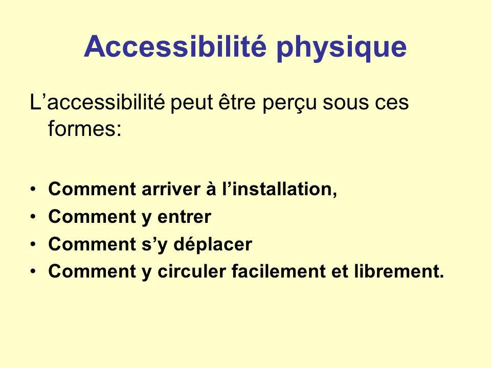 Accessibilité physique Laccessibilité peut être perçu sous ces formes: Comment arriver à linstallation, Comment y entrer Comment sy déplacer Comment y