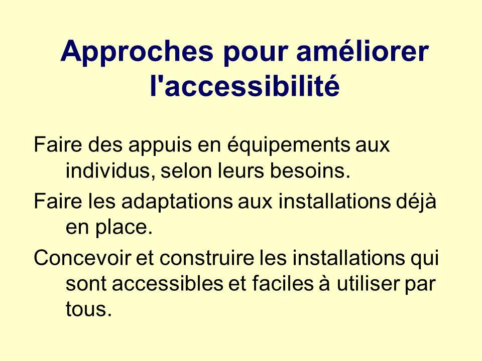 Approches pour améliorer l'accessibilité Faire des appuis en équipements aux individus, selon leurs besoins. Faire les adaptations aux installations d