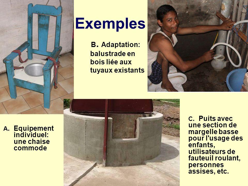 Exemples A. Equipement individuel: une chaise commode C. Puits avec une section de margelle basse pour l'usage des enfants, utilisateurs de fauteuil r