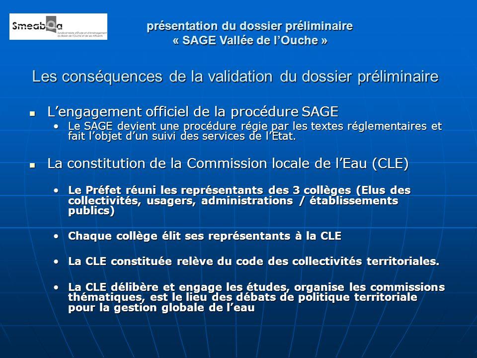 Les conséquences de la validation du dossier préliminaire Lengagement officiel de la procédure SAGE Lengagement officiel de la procédure SAGE Le SAGE