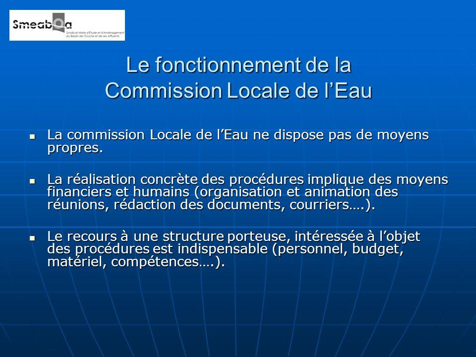 La commission Locale de lEau ne dispose pas de moyens propres. La commission Locale de lEau ne dispose pas de moyens propres. La réalisation concrète