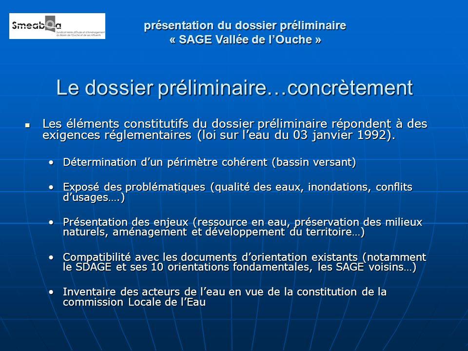 Le dossier préliminaire…concrètement Les éléments constitutifs du dossier préliminaire répondent à des exigences réglementaires (loi sur leau du 03 ja